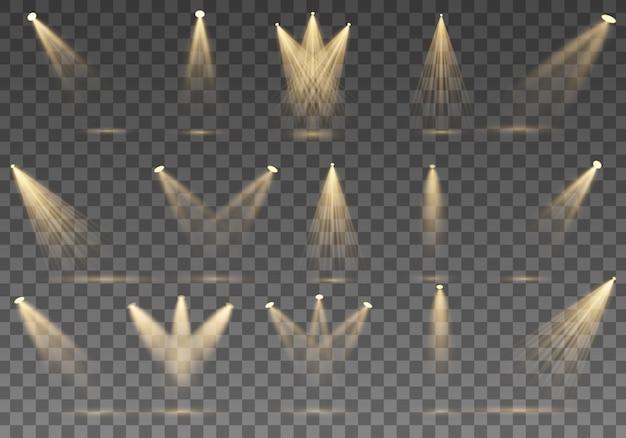 Conjunto de holofotes dourado isolado. luzes quentes amarelas. holofotes. cena. efeitos de luz. ilustração. coleção holofote para iluminação de palco, efeitos de luz transparentes.