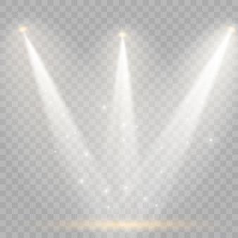 Conjunto de holofotes dourados isolados branco amarelo quente luzes vector cena de holofotes