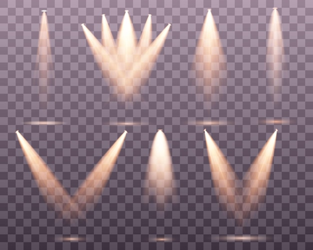 Conjunto de holofotes dourados palco de luz quente amarela em fundo transparente iluminação da cena