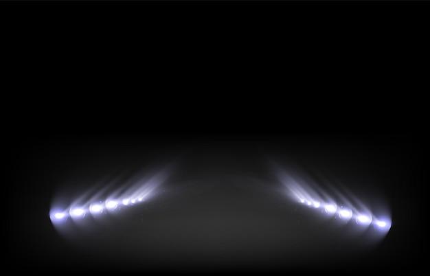Conjunto de holofotes isolado em fundo transparente efeito de luz brilhante de vetor com