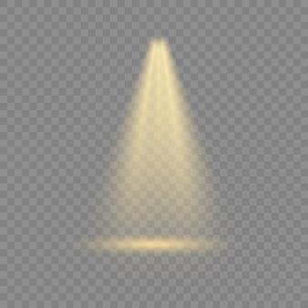 Conjunto de holofotes isolado em fundo transparente. feixe de holofotes, holofotes iluminados para web design e projeção estúdio feixe de luzes concerto clube show iluminação de cena. efeitos de iluminação.