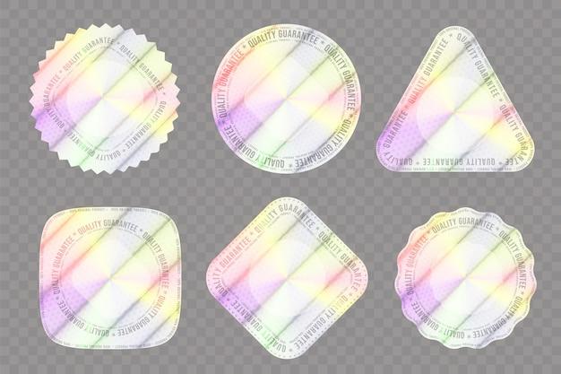 Conjunto de hologramas realistas de várias formas para decoração