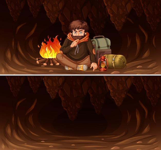 Conjunto de homem acampar na cena da caverna