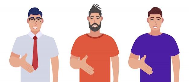 Conjunto de homem barbudo personagem cumprimenta. homens barbudos dando aperto de mão pose e sorrindo com um gesto de boas-vindas.