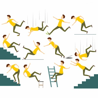 Conjunto de homem caindo isolado. caindo do acidente de cadeira, caindo de escadas, escorregando, tropeçando caindo ilustração vetorial de homem.