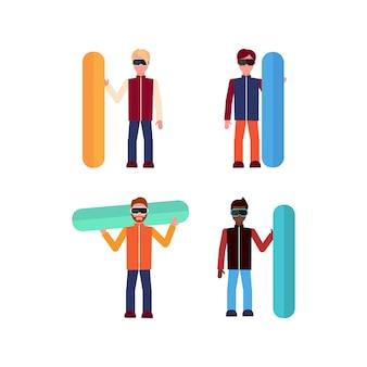Conjunto de homem com prancha de snowboard