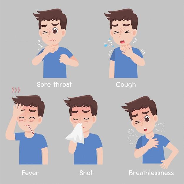 Conjunto de homem com sintomas de diferentes doenças - dor de garganta, tosse, febre, ranho, falta de ar