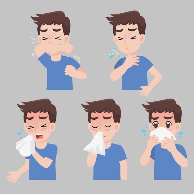 Conjunto de homem com sintomas de diferentes doenças - espirro, ranho, tosse, febre, doente, doente