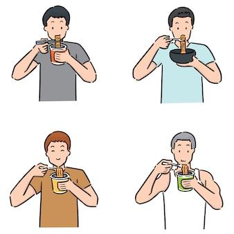 Conjunto de homem come macarrão