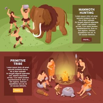 Conjunto de homem das cavernas isométrico povos primitivos de dois banners horizontais com mais texto do botão e ilustração de personagens humanos