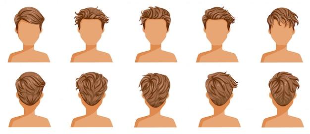 Conjunto de homem de cabelo soprado. cabelo curto soprado de macho.
