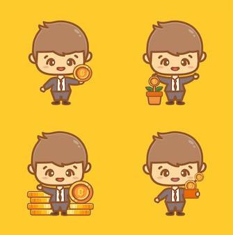 Conjunto de homem de negócios bonito segurando bitcoins para investir em economia e enriquecimento.