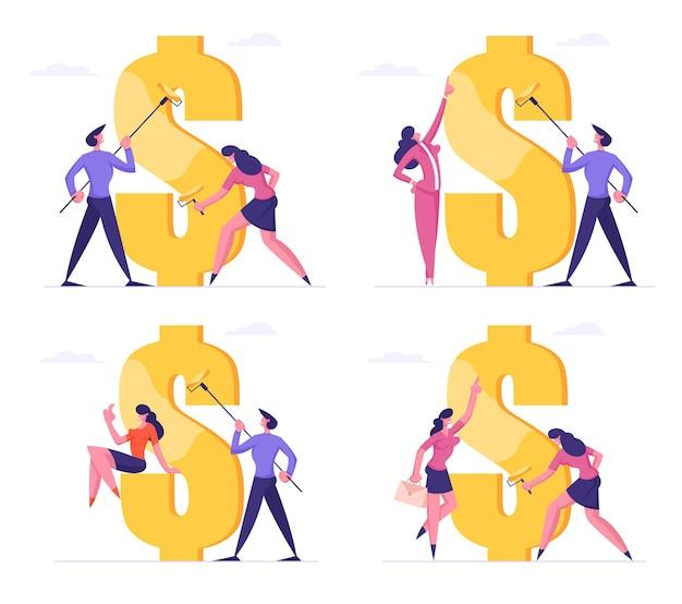 Conjunto de homem de negócios e mulher com rolos desenhando um enorme cifrão com tinta dourada