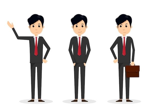 Conjunto de homem de negócios jovem bonito em poses diferentes.