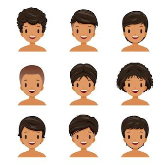 Conjunto de homem de pele bronzeada com diferentes estilos de cabelo