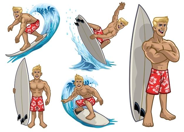 Conjunto de homem de surf branco de músculo de desenho animado