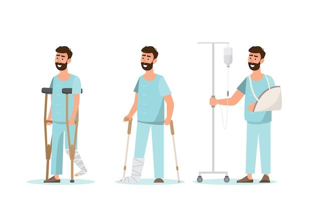 Conjunto de homem doente em personagens diferentes