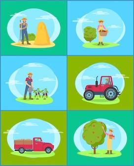 Conjunto de homem e mulher agrícola