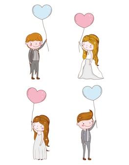 Conjunto de homem e mulher com balões de corações