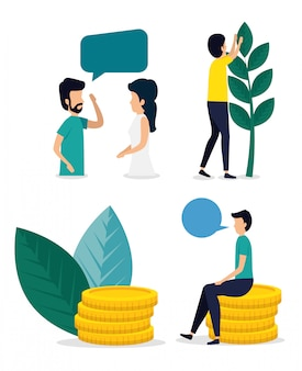 Conjunto de homem e mulher com bolha de bate-papo e moedas