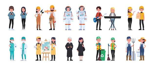 Conjunto de homem e mulher de caráter de trabalho de pessoas. ilustração em vetor em um estilo simples