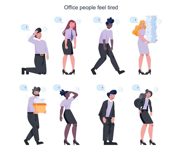 Conjunto de homem e mulher de negócios exausto. empresários com falta de energia