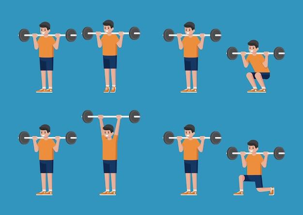 Conjunto de homem em poses de musculação e treinamento de peso. levantamento da panturrilha em pé. prensa de ombro barbell em pé. barbell squat. barbell lunge.