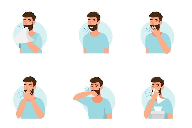 Conjunto de homem espirrando e tossindo