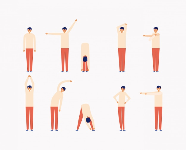 Conjunto de homem fazendo exercícios de manhã, estilo simples