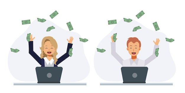 Conjunto de homem feliz e mulher feliz, ganhando muito dinheiro na internet. ganhar o prêmio, obter o conceito de dinheiro. ilustração de personagem de desenho animado 2d vector plana.