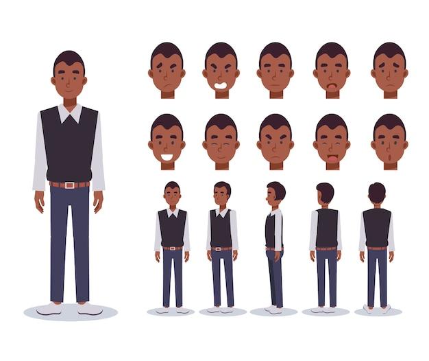 Conjunto de homem flat character usa roupas casuais com vários pontos de vista, estilo cartoon.