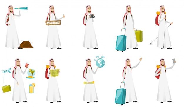 Conjunto de homem jovem viajante muçulmano