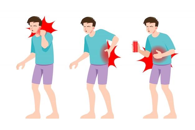Conjunto de homem sente dor em diferentes partes do corpo.