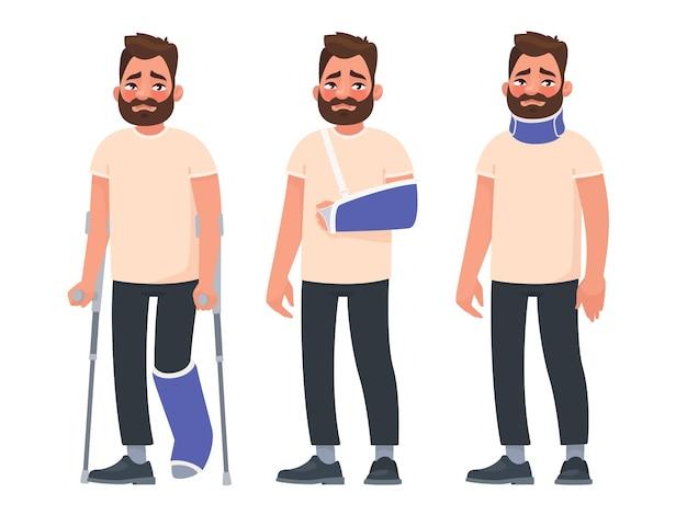 Conjunto de homem triste personagem com ferimentos. fratura ou luxação da perna, braço, lesão no pescoço. pessoa com gesso e colar de fixação. membros quebrados.