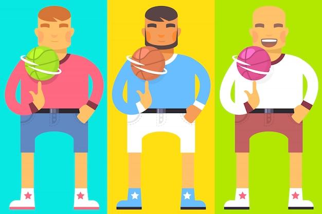 Conjunto de homens com bola