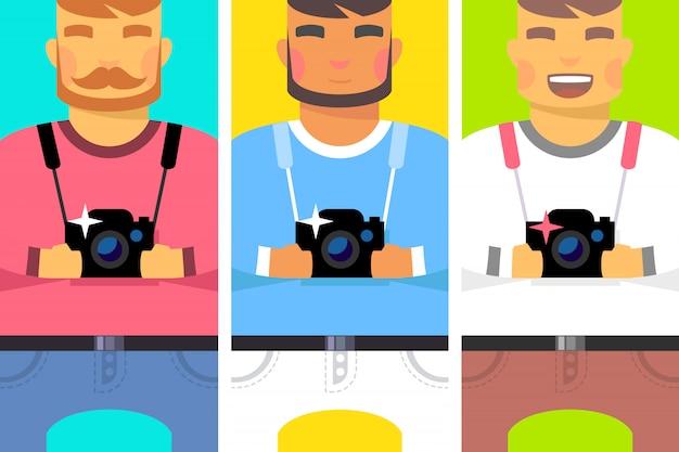 Conjunto de homens com câmera