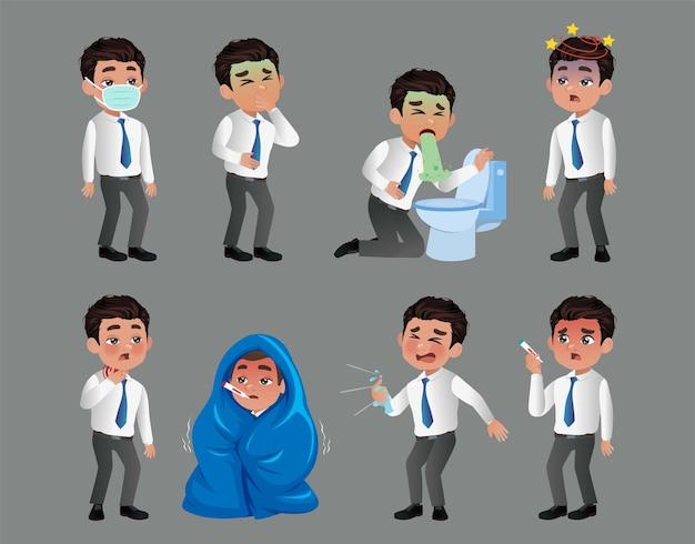 Conjunto de homens com dor e doenças