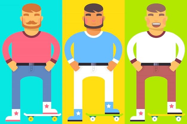 Conjunto de homens com um skate