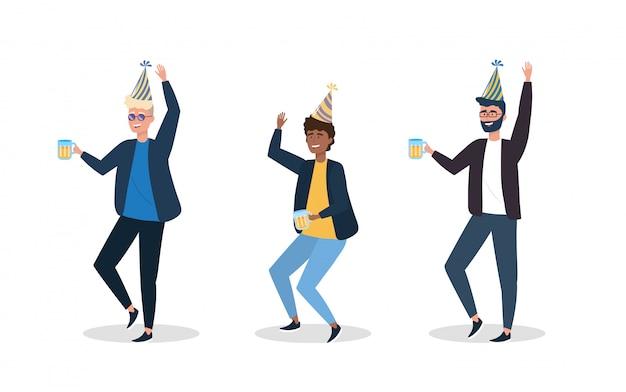 Conjunto de homens dançando com decoração de chapéu de festa