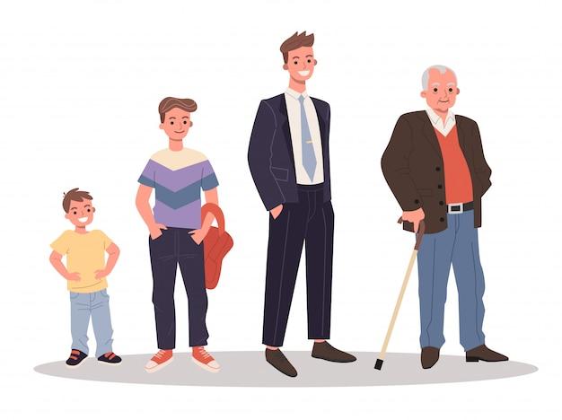 Conjunto de homens de diferentes idades