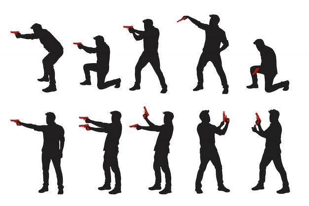 Conjunto de homens de duas cores com silhuetas de arma