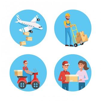 Conjunto de homens de entrega e serviço de transporte de distribuição para pacotes