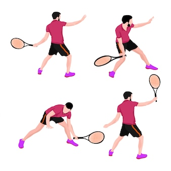 Conjunto de homens de esportes de tênis