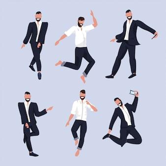 Conjunto de homens de negócios, tirando foto de selfie em smartphones de câmera de smartphone em personagens de desenhos animados masculinos de coleção de roupa formal, posando em ilustração de corpo inteiro de terno