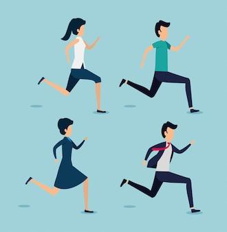 Conjunto de homens e mulheres correndo