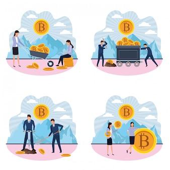 Conjunto de homens e mulheres digitais de mineração bitcoin