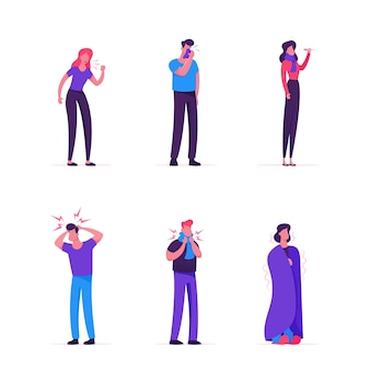Conjunto de homens e mulheres doentes. pessoas com sintomas de gripe. ilustração plana dos desenhos animados