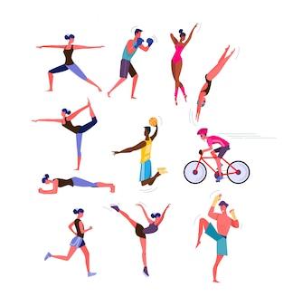 Conjunto de homens e mulheres praticando esportes