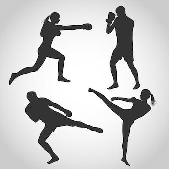 Conjunto de homens e mulheres silhueta de kickboxing