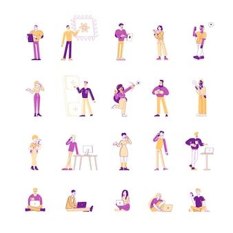 Conjunto de homens e mulheres usando celulares e gadgets